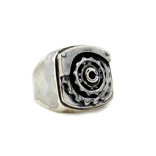 Custom Gear and Sprocket Ring in Rock Star Silver by Dax Savage Jewelry.