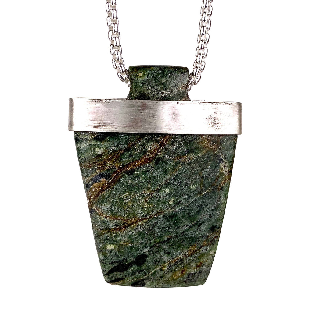 Guatemalan Jade and Sterling Silver Necklace by LA based Artist and Designer, Dax Savage.