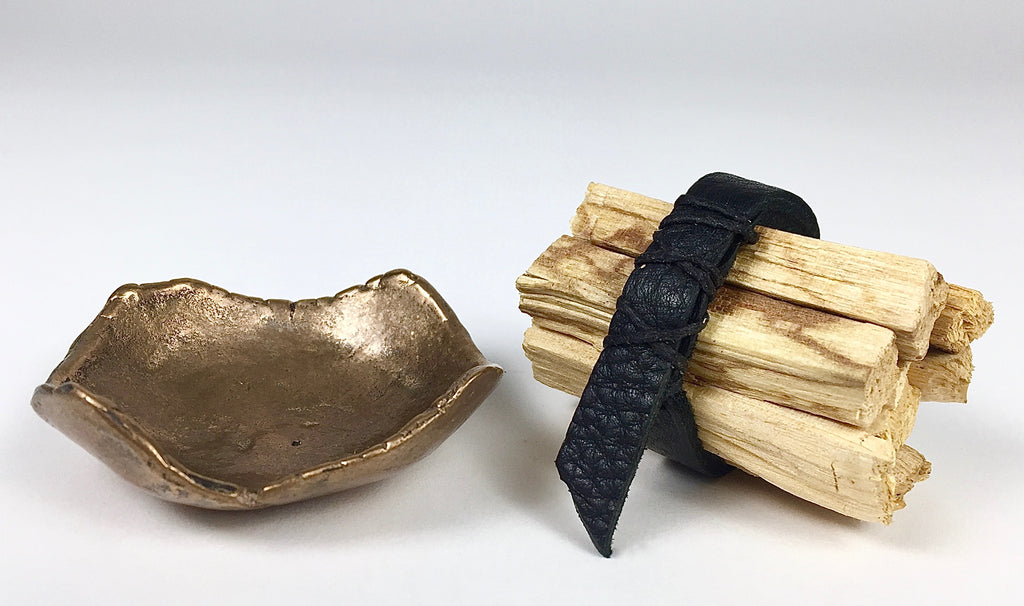 Custom Cast Bronze Palo Santo Incense Burn Bowl by Artist Dax Savage.