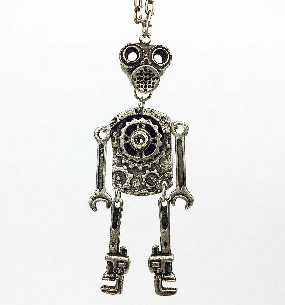 Custom Cast White Brass Robot Pendant by LA Artist and Designer Dax Savage.