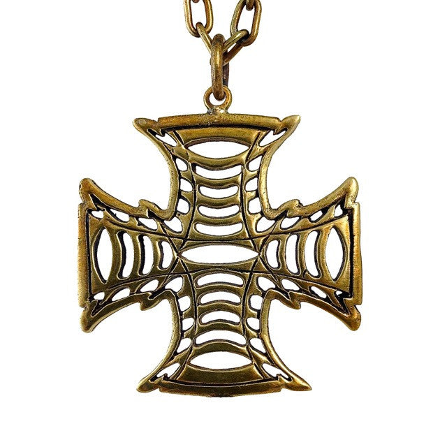Custom Imperial Cross Pendant in Yellow Brass by Dax Savage Jewelry.
