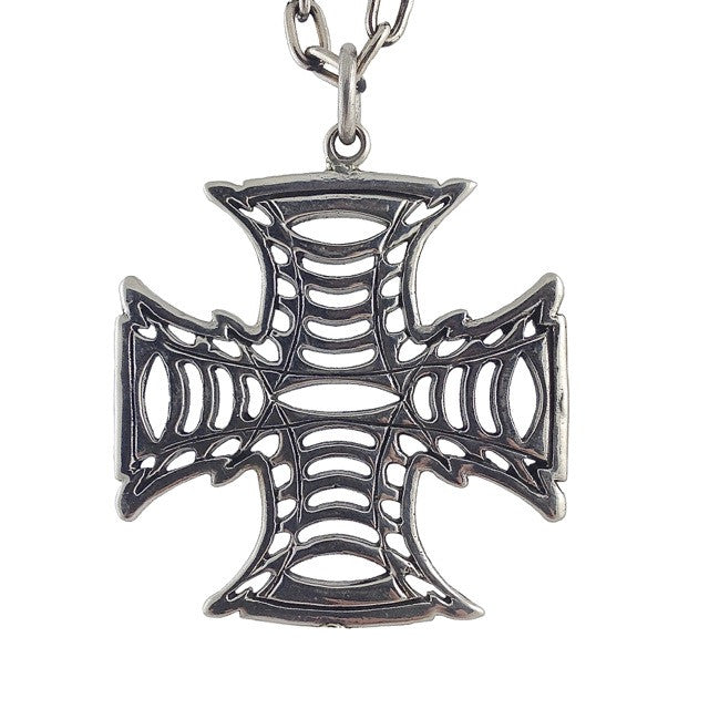Custom Imperial Cross Pendant in White Brass by Dax Savage Jewelry.
