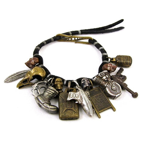 Mens Charm Bracelet - mixed metals