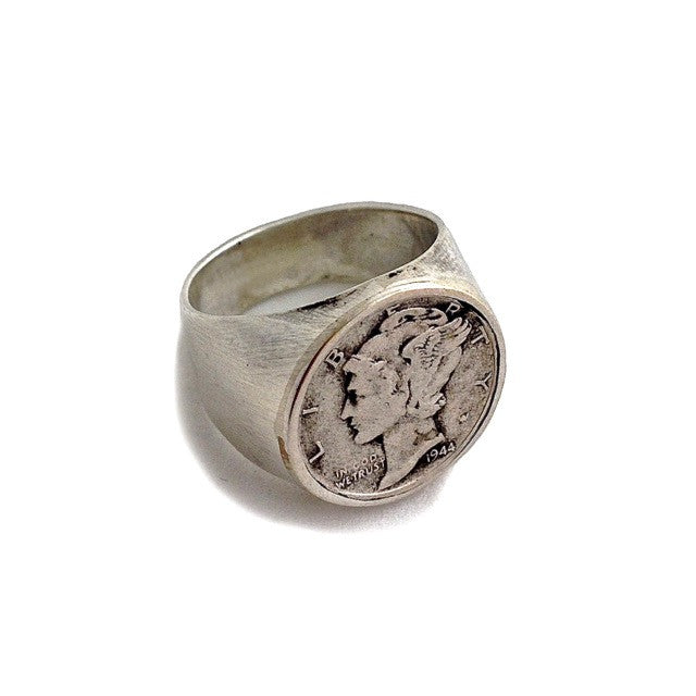Custom Hand-Made Vintage American Liberty Dime Coin Ring in Sterling Silver by Dax Savage Jewelry.