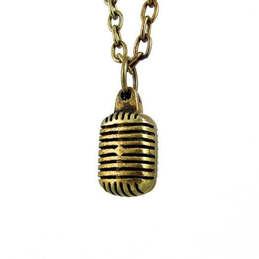 Custom Designer Vintage Microphone in Rock Star Brass by Dax Savage Jewelry