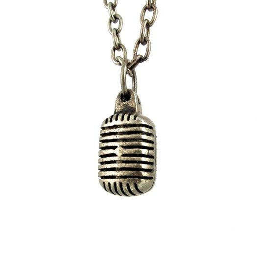 Custom Designer Vintage Microphone in Rock Star White Brass by Dax Savage Jewelry
