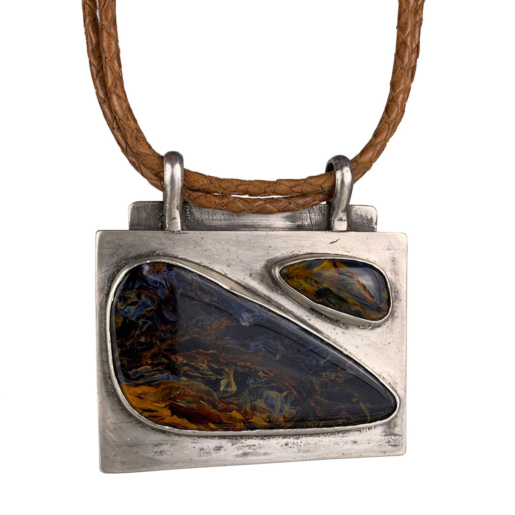 Custom Necklace of Namibian Pietersite and Sterling Silver Handmade by LA based Artist, Dax Savage Jewelry.