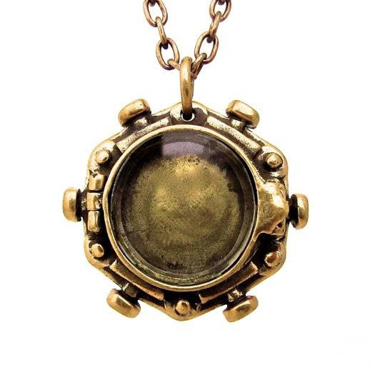 Custom Designer Porthole Locket in Rock Star Brass By Dax Savage Jewelry