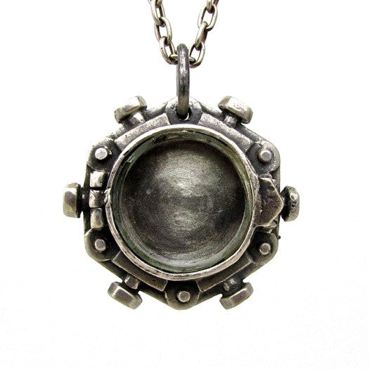 Custom Designer Porthole Locket in Rock Star White Brass By Dax Savage Jewelry