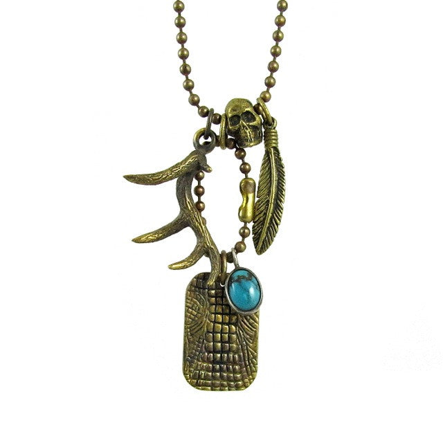 Custom Designer Restless Native Necklace in Rock Star Brass by Dax Savage Jewelry
