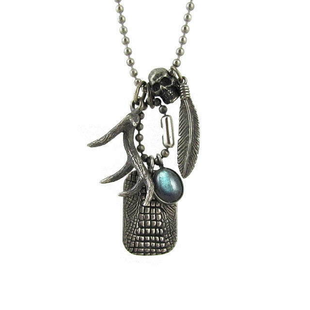 Custom Designer Restless Native Necklace in Rock Star Sterling Silver by Dax Savage Jewelry