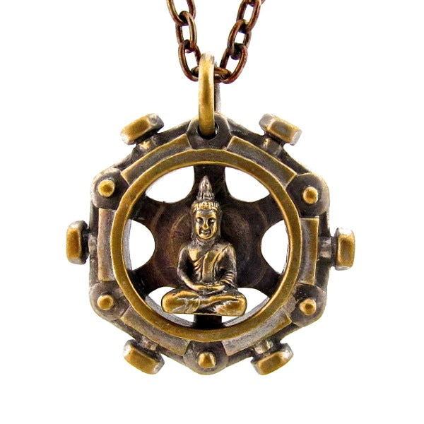 Custom Designer Spinning Buddha Pendant in Rock Star Brass By Dax Savage Jewelry