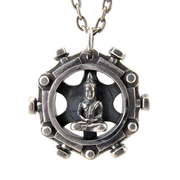 Custom Designer Spinning Buddha Pendant in Rock Star White Brass By Dax Savage Jewelry