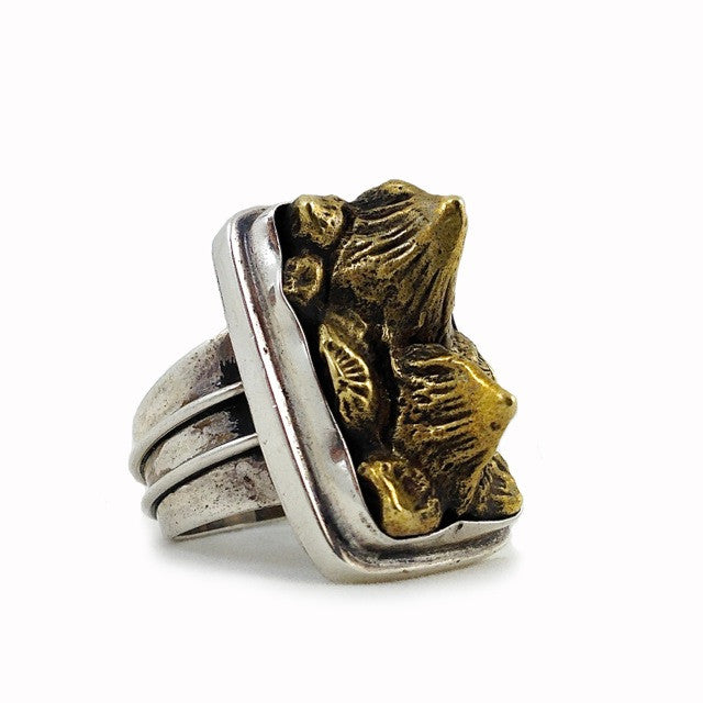 Custom Cast Stingray Spine Ring in Brass and Sterling Silver by Dax Savage Jewelry.