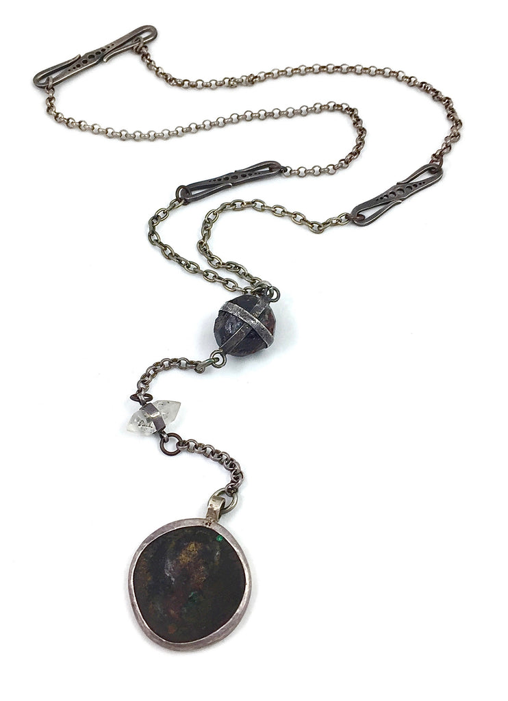 Ancient coin, raw garnet, crystal, sterling silver rosary style custom handmade necklace by Dax Savage Jewelry.