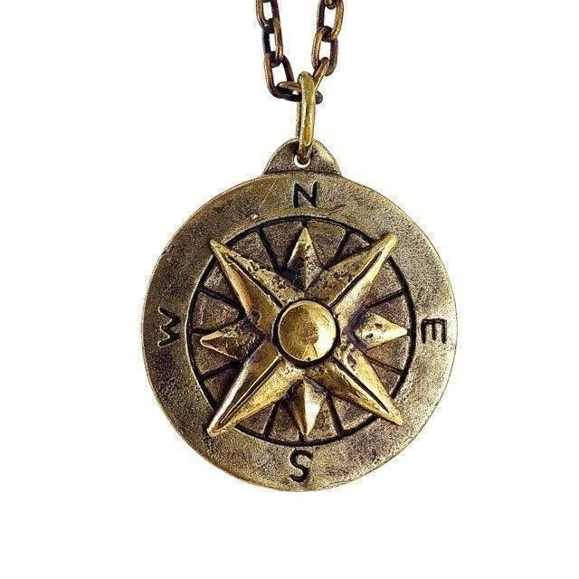 Custom Designer Compass Necklace in Brass by Dax Savage Jewelry.