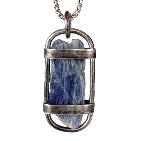 Blue Kyanite/Silver Cage Pendant A1