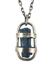 This custom pendant is a raw dark blue Aquamarine stone from Mozambique free floating in a handmade sterling silver cage with a heavy duty sterling silver chain and clasp by Dax Savage Jewelry.