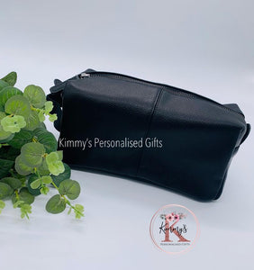 Black PU Leather Wash Bag