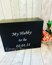 Load image into Gallery viewer, Black Personalised Magnetic Gift Boxes
