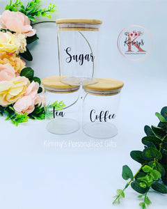Bamboo Storage Containers, Tea Coffee and Sugar Canister