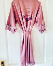 Load image into Gallery viewer, Childrens/kids Mauve Matte Satin Lace Robes