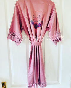 Childrens/kids Mauve Matte Satin Lace Robes