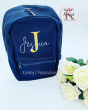 Load image into Gallery viewer, Navy Personalised BackPack