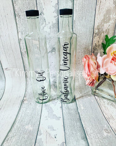 Olive Oil Bottle, Vinegar Bottle, Glass Bottle, Personalised Glass Pourer