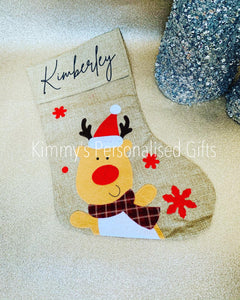 Hessian Reindeer Stocking