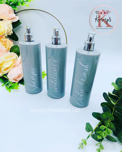 Grey Bottles with Silver Pump