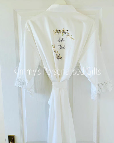 White Matte Satin Lace Robes
