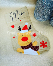 Load image into Gallery viewer, Hessian Reindeer Stocking
