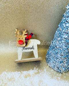 Tartan Wooden Personalised Reindeer