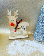 Load image into Gallery viewer, Tartan Wooden Personalised Reindeer