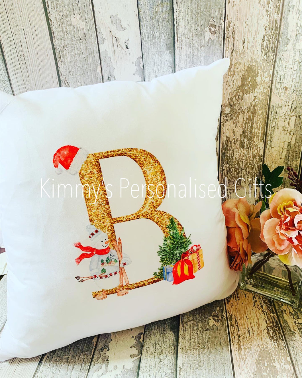 Gold Letter Christmas Cushion