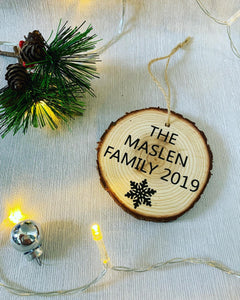 Family Wooden Christmas Bauble