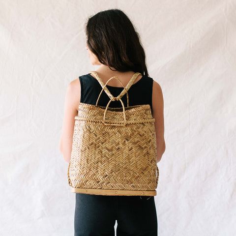 Woven Rattan Backpack