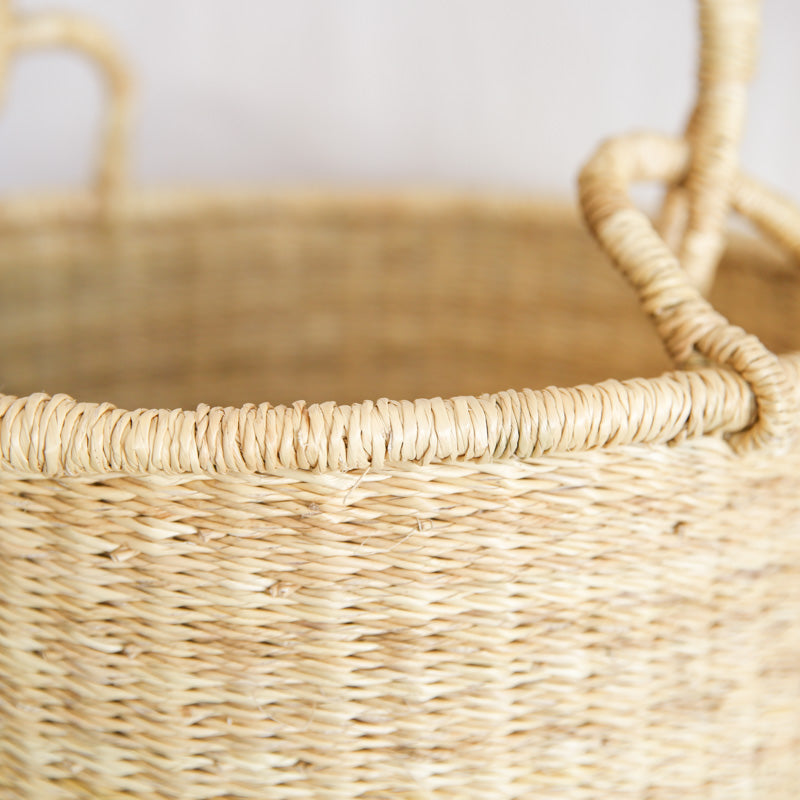 Straw Hamper - Leather Handle