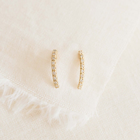 Pavé Arc Demi Hoop Earring