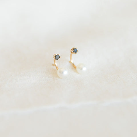Pearl and Black Diamond Stud Earrings