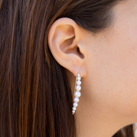 Cascading White Pearl Earrings