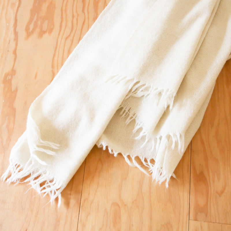 Rustic Wool Throw - Natural
