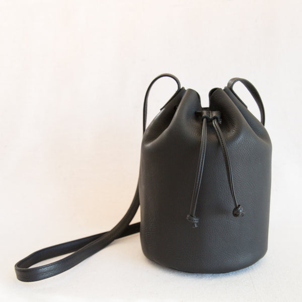 Drawstring Leather Bag - Black