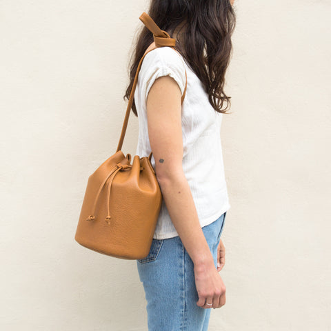 Drawstring Leather Bag - Caramel