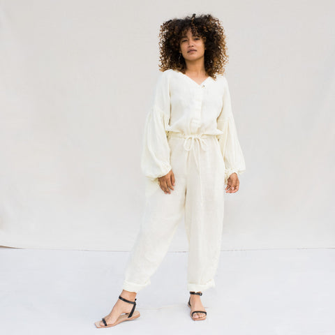 Balloon Sleeve Jumpsuit - Cream
