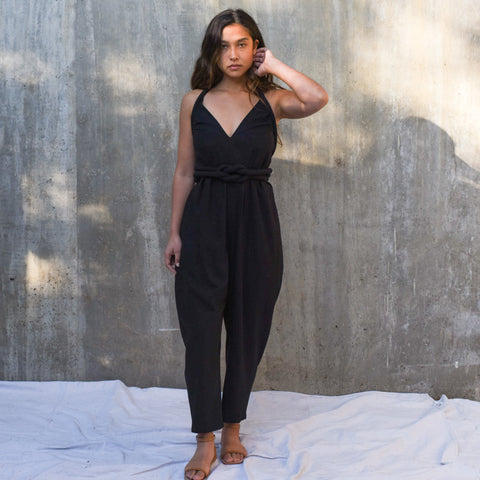Infinite Rope Jumpsuit  - Black Silk Noil