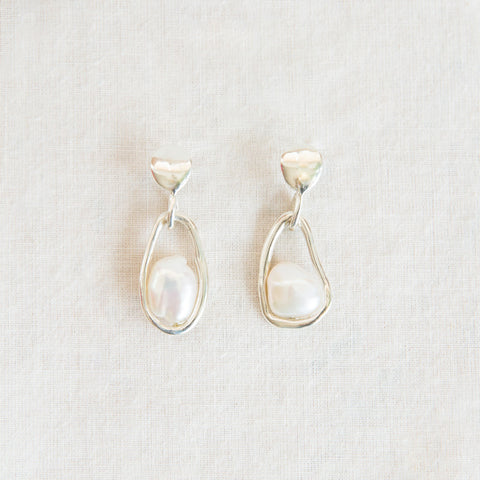 Caged Pearl Earrings