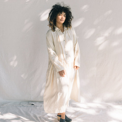 Linen Washer Dress - Cream