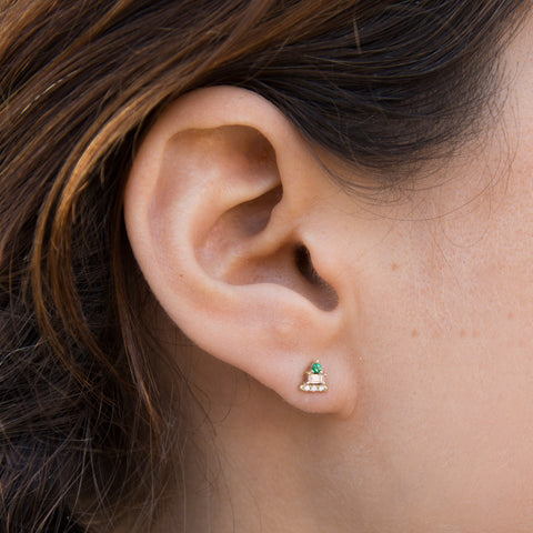 Emerald Baguette Bar Stud